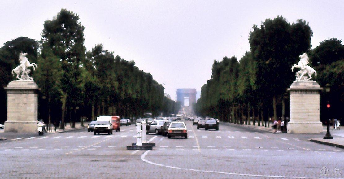 The Arc de Triomphe, seen from Place de la Concorde in Paris, France