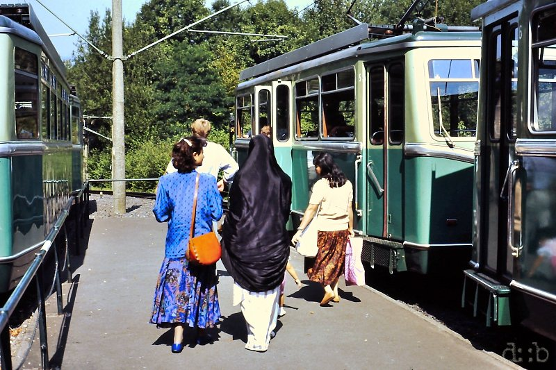 International tourists visiting Königswinter's Drachenfels, using the rack train to get uphills.