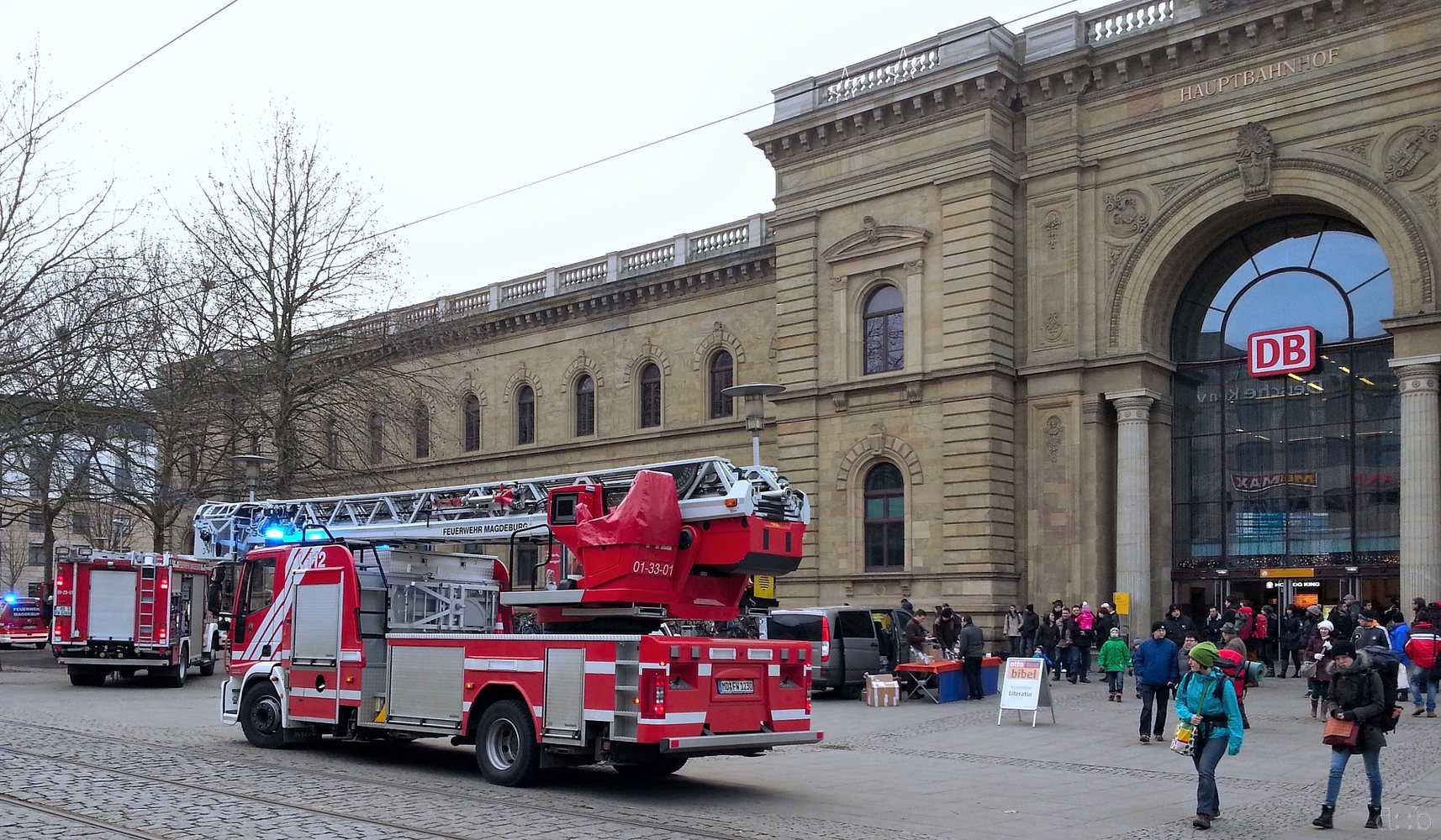 Firetrucks in front of Magdeburg central station.