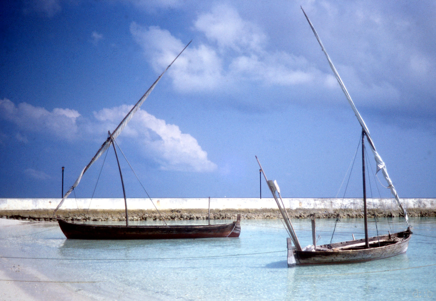 Boats, moored to Biyadhoo Beach.