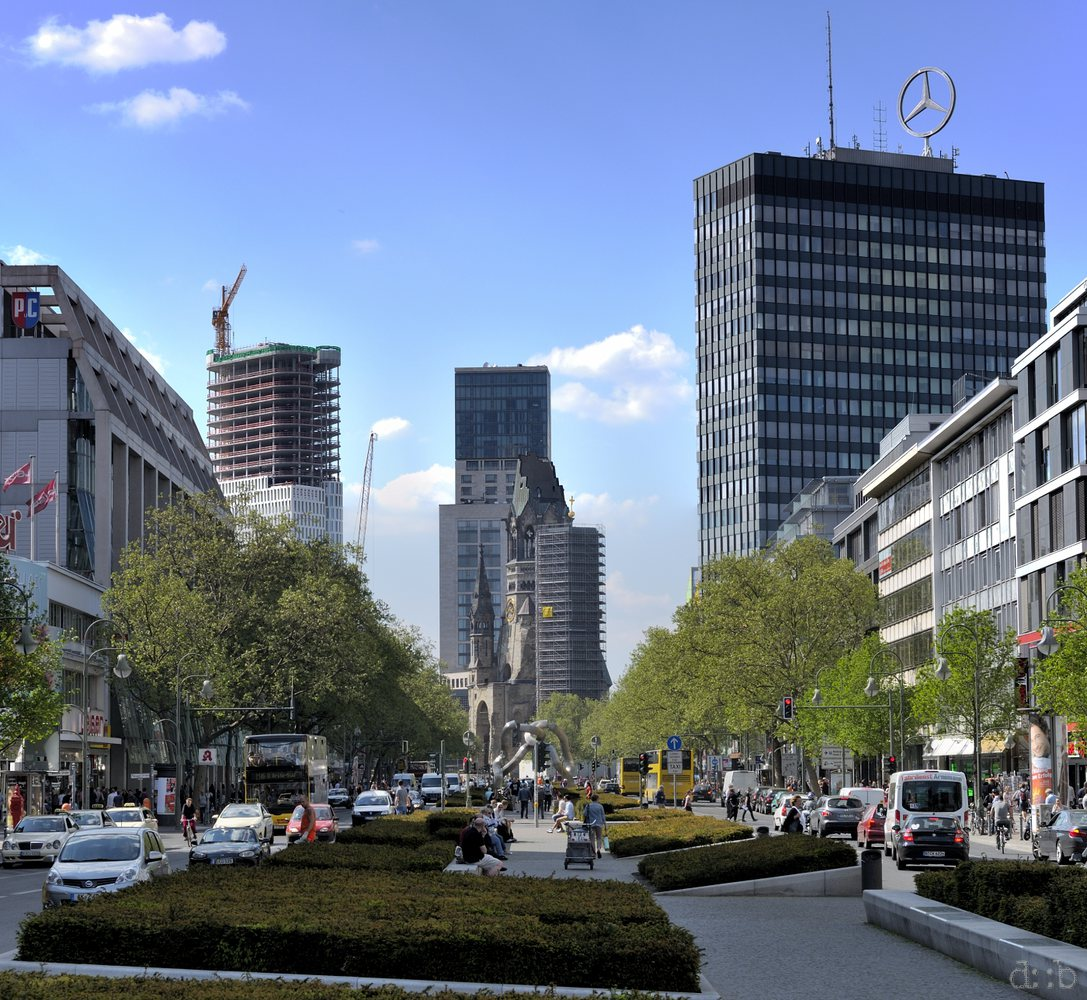 "Popular West Berlin Tauentzien shopping boulevard, with the Europa Center, Zoofenster and the new ""Upper West"", just being built."