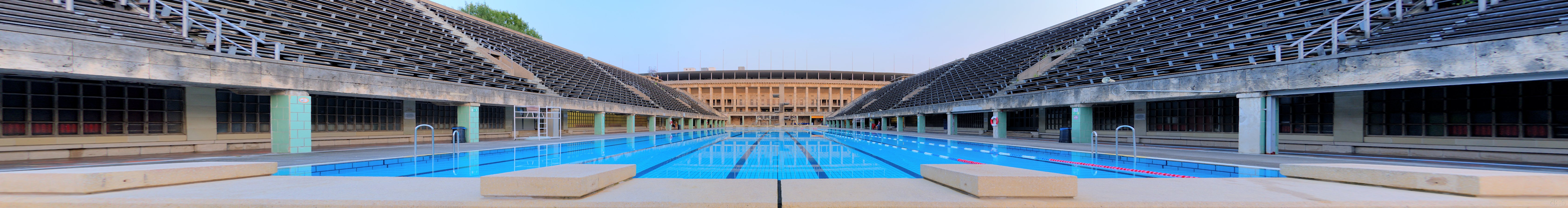 The competition pool's starting blocks in Berlin's olympic swimming stadium