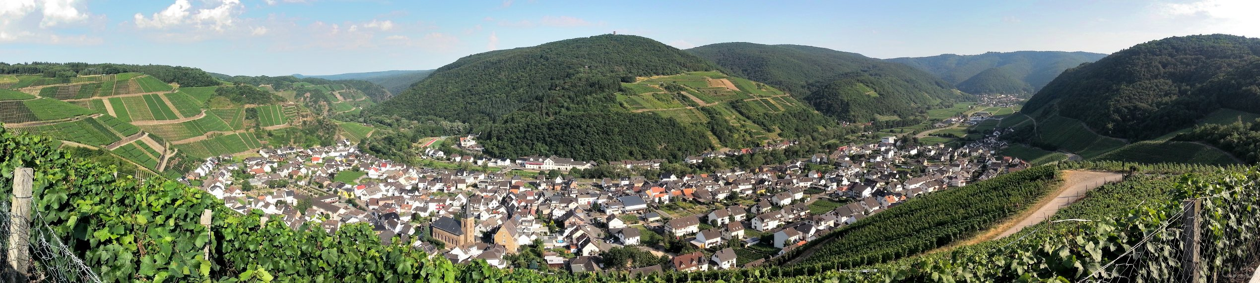 Panoramic view on Dernau, a wine village in the Ahr valley in the Eifel mountains.