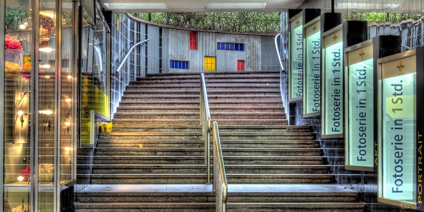 Side-stairway at a shopping street in Pforzheim
