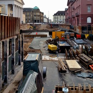 Underground construction site at Karlsruhe's market place