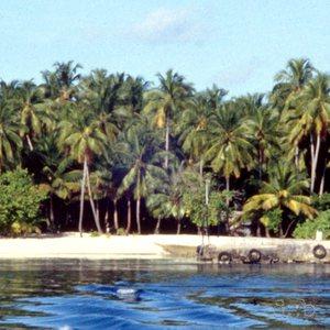 The Maldivian resort island of Biyadhoo in the South Malé Atoll.