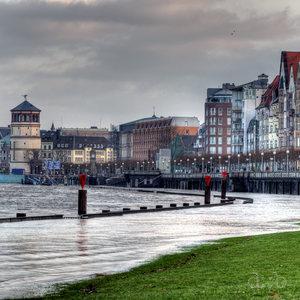 Düsseldorf during a rhine flood in early 2011.