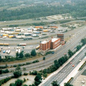 Northern end of Berlin's Avus Autobahn, aerial shot from 1986.
