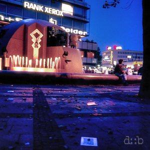 """The fountain at Breitscheidplatz in Berlin Charlottenburg, locally often referred to as """"Wasserklops"""" (""""ball of water"""")."""