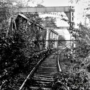 A Berlin S-Bahn railway bridge in 1986, being out of service for already several years.