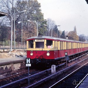 Wannsee station with an S-Bahn train, in 1984 already operated by West Berlin public transport (BVG) and no longer by East-German Deutsche Reichsbahn.