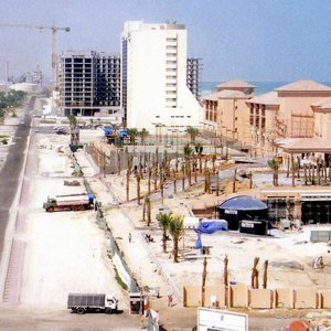 Al Mamsha street at Dubai's Jumeira Beach during heavy construction work at future hotels, summer 1998