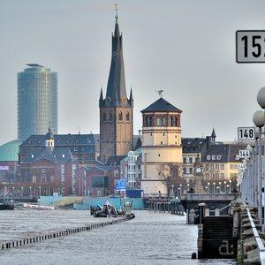 Düsseldorf's center during a Rhine flood in 2011.