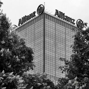 """One of the """"Treptowers"""" high-rise buildings in Berlin Treptow, owned by German insurance corporation Allianz."""