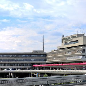 """Panoramic view of Berlin Tegel airport """"Otto Lilienthal""""."""