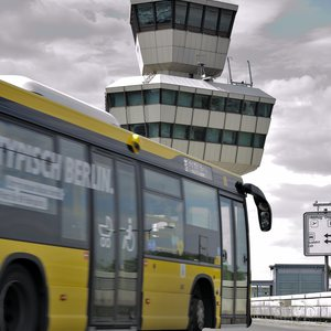 A public bus approaching Berlin Tegel airport.