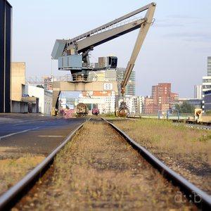 Rail tracks in Düsseldorf's container port