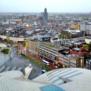 Arnhem's old town and the new central station, seen from above.