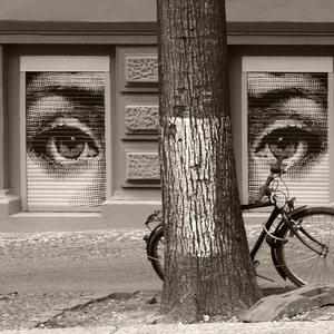 A pair of eyes, painted on window shutters in Berlin Kreuzberg