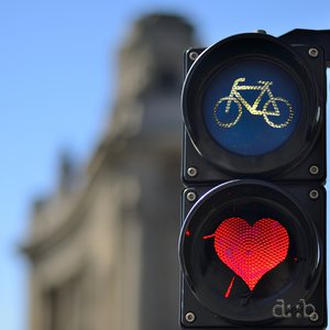 A traffic lights for bicycles, shaped as a heart