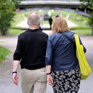 A couple is walking on the track of the former Luisenstädtischer Kanal in Berlin Kreuzberg