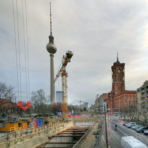 "Construction pit of Berlin's notorious underground metro line U5 close to the ""Rotes Rathaus"""