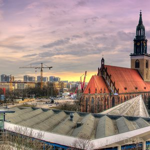 Panorama of the actual location of Berlin's historic city, with the television tower and the Marienkirche