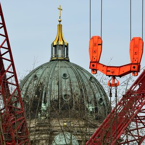 Metro tunnel construction work in front of Berlin's historic Dome (Berliner Dom)