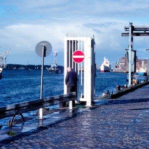 Morning scene at Hamburg harbor.