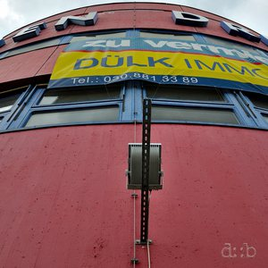 Facade of the abandoned roadhouse building at former Checkpoint Bravo in Berlin Zehlendorf.
