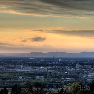 Panoramic view on Karlsruhe with the Vosges in the background.
