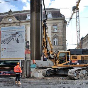 Metro station construction works at Karlsruhe's Europaplatz