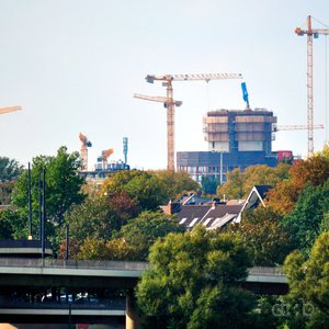 "Visible progress on the Vodafone Düsseldorf ""campus"" construction site."