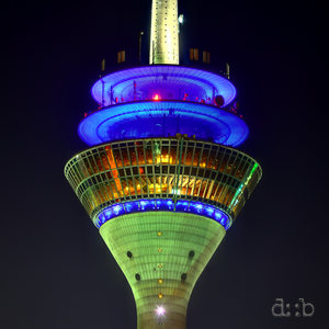 Close shot of the Düsseldorf TV/broadcast tower