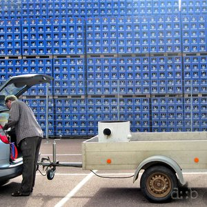 Thousands of beer crates at a Bavarian brewery.
