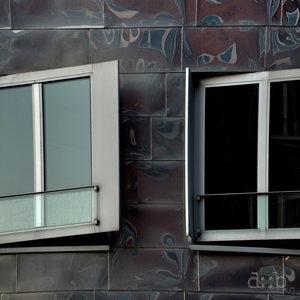 Mirror facade in Düsseldorf's harbor area.