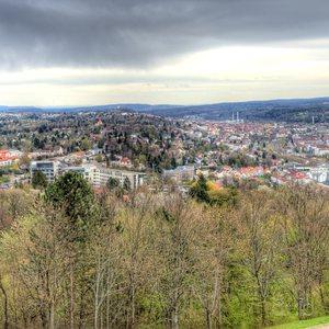 Panoramic view of Pforzheim and the surrounding landscape