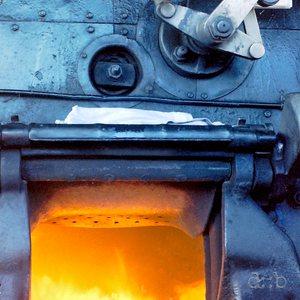 Heavy fire inside a steam locomotive.