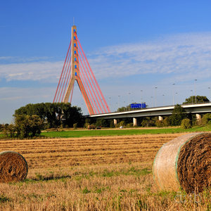 Rolles straw ready for storade lying on the Rhine flood meadows in the south of Neuss.