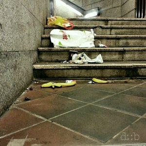 Garbage on a metro station stairway in Berlin
