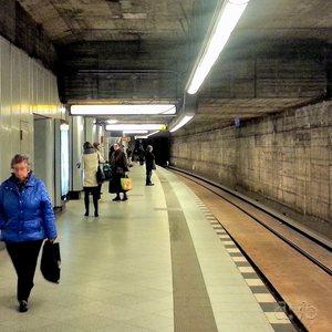 Berlin metro station U-Bahnhof Bismarckstraße during a general constructive overhaul.