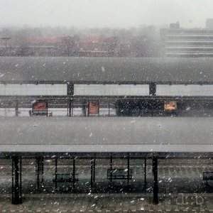 Nijmegen station during a snow storm in early 2016.