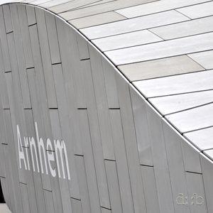 Detail view of new Arnhem central station's portal roof