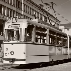A historic tram train, maintained by Potsdam municipal transport employees and enthusiasts.