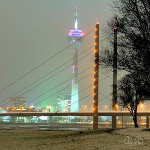 Düsseldorf's skyline, as seen in a truly cold winter night.