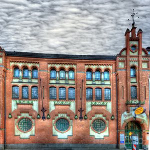 """Deskewed front panorama of Charlottenburg's """"Alte Halle"""" swimming facility"""