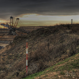 Panoramic night view of the Garzweiler lignite mine in the greater Düsseldorf area